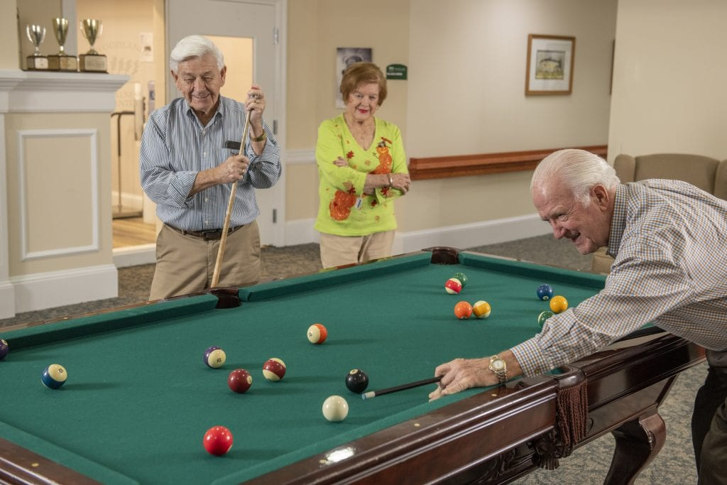 Charles playing pool at Woodlands