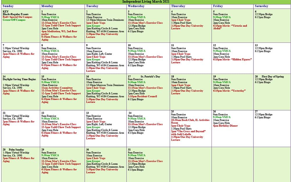 March 2021 Resident Events Calendar