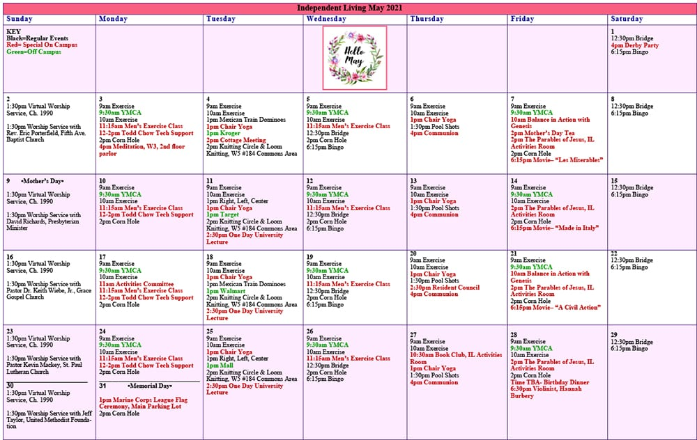 May 2021 Resident Events Calendar