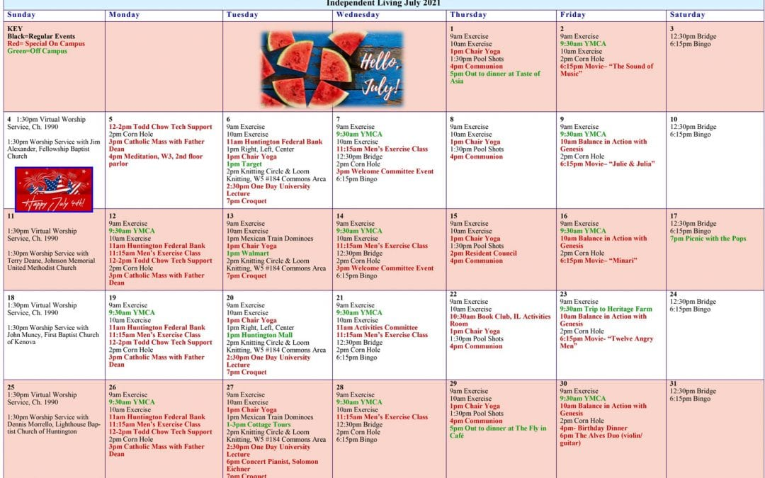 July 2021 Resident Events Calendar