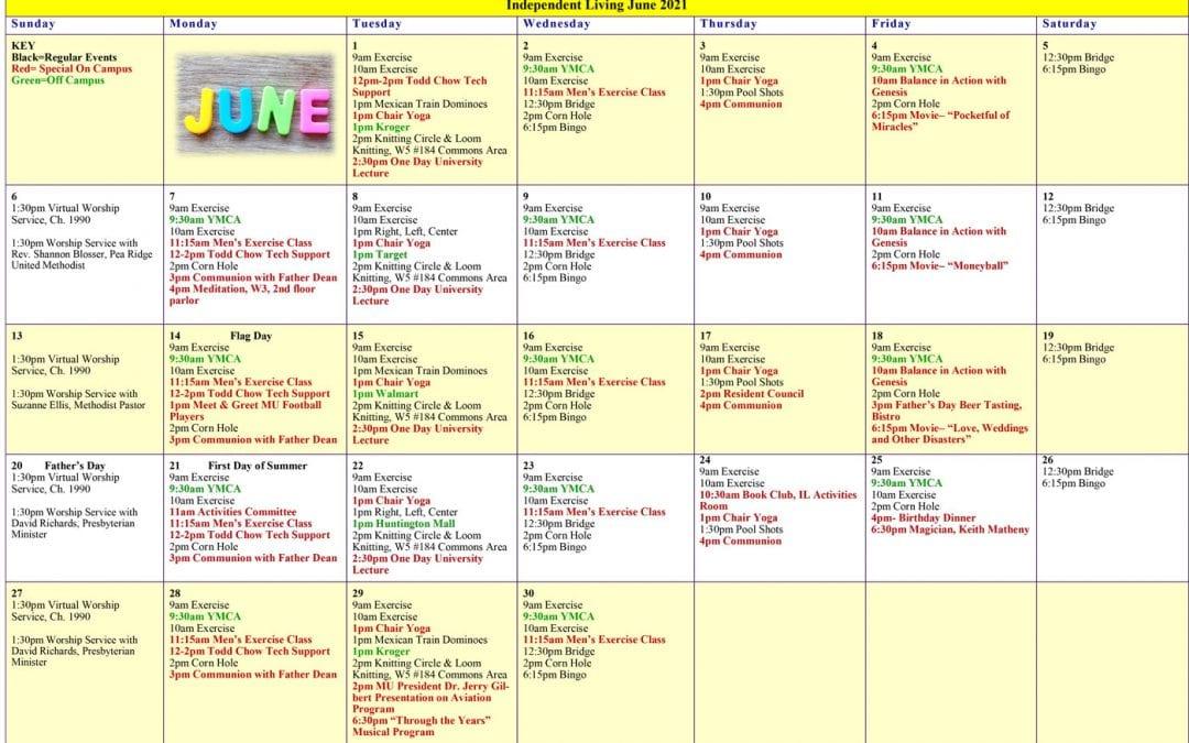June 2021 Resident Events Calendar