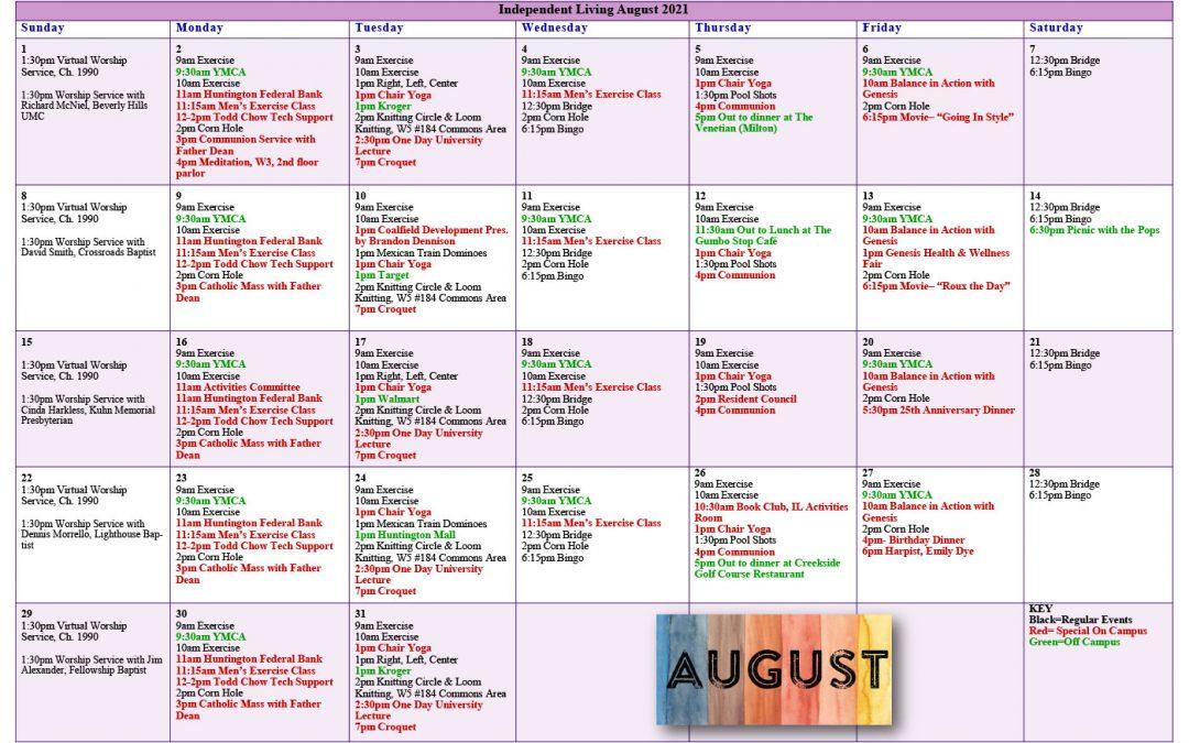 August 2021 Resident Events Calendar