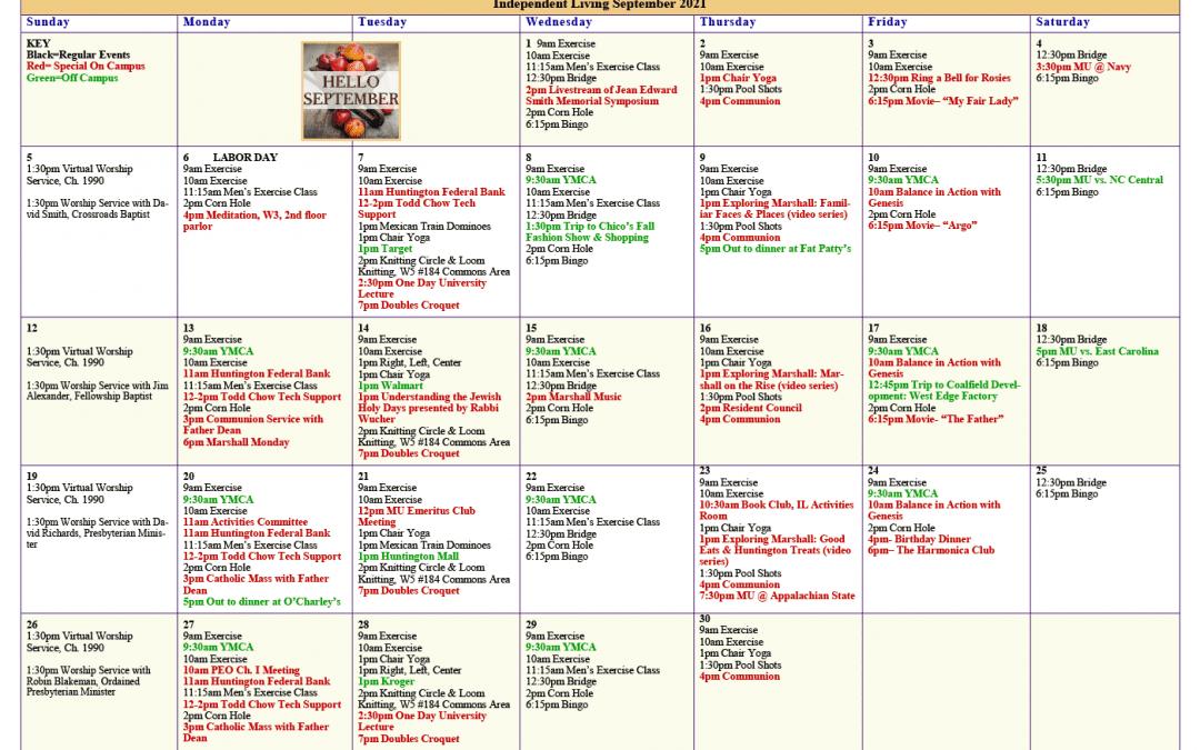 September 2021 Resident Events Calendar
