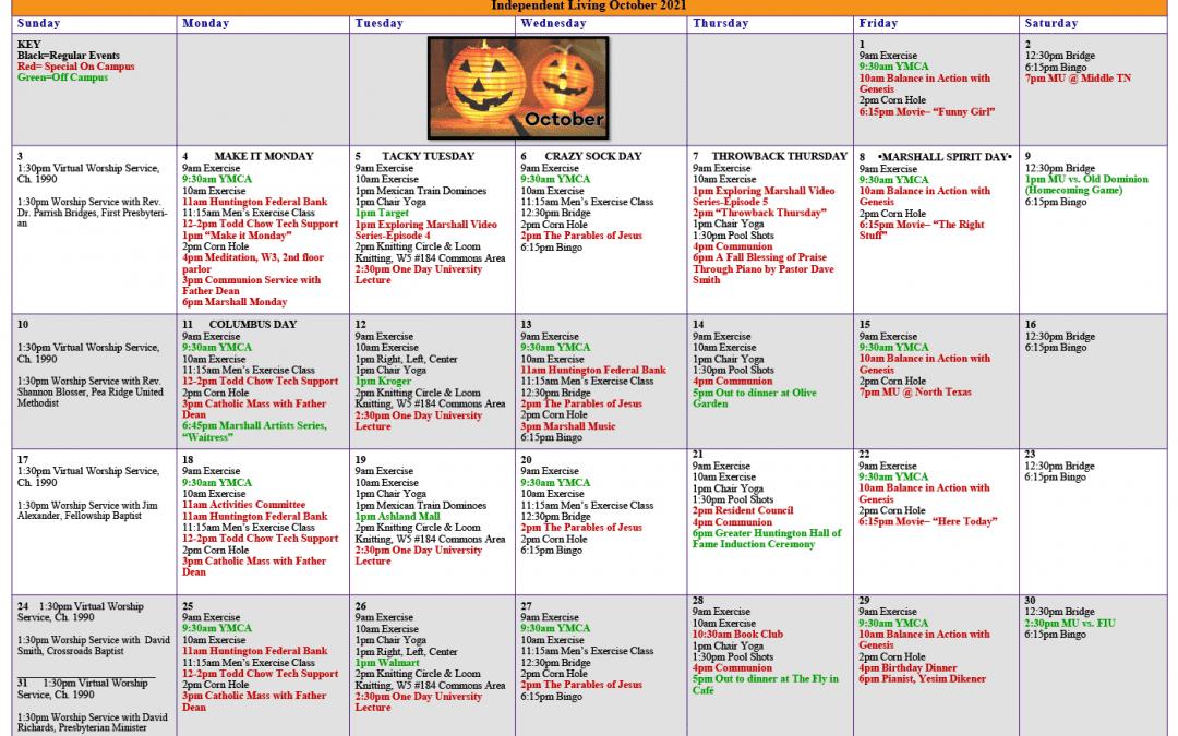 October 2021 Resident Events Calendar